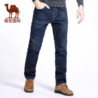 骆驼男装 秋季新款时尚加绒加厚复合牛仔裤男 中腰保暖直筒长裤