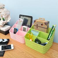 创意桌面化妆品收纳盒遥控器杂物分类收纳整理盒藤编造型五格收纳盒箱大号塑料置物架