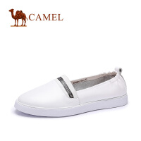 camel骆驼女鞋 新款 牛皮圆头松紧带低跟舒适女单鞋