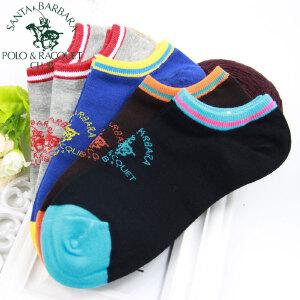 圣大保罗 男士袜子船袜5双短筒棉袜日系运动撞色复古袜民族风透气韩版学生松口隐形袜套低帮春夏季薄款5388