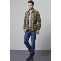 2610A秋冬新款战地吉普加绒加厚长袖衬衫外套 男士保暖格子衬衣