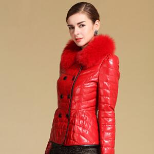 CITYSAILOR冬装 海宁绵羊皮 皮衣女款羽绒服短款狐狸毛修身皮草外套短款