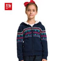 季季乐女童冬装外套中大童加绒毛线衣外套GQM51138