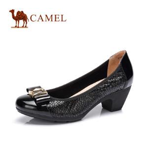 camel骆驼女鞋 休闲通勤 春季新款圆头舒适中跟单鞋