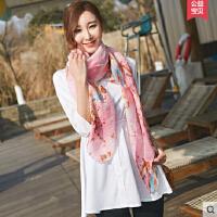 丝巾女士春秋百搭韩版新款韩国长款棉麻百变薄款披肩围巾