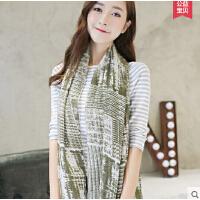 格子棉麻围巾 女士 超长款韩版文艺范大披肩两用渐变 百变丝巾
