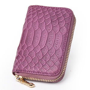 Yvonge韵歌头层压鳄鱼纹牛皮男女款拉链风琴式卡包名片包零钱包卡夹