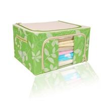 快乐鱼 牛津布铁架百纳箱 有盖收纳盒 整理箱 22L收纳箱 单窗树叶绿