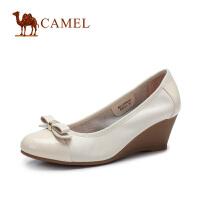 camel骆驼女鞋 蝴蝶结圆头 坡跟单鞋 2016春季新款女单鞋