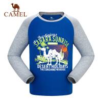 camel骆驼童装 儿童长袖休闲圆领T恤男童简约印花微弹棉t