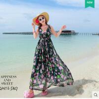 沙滩裙波西米亚V领印长裙连衣裙显瘦女夏花长裙高腰雪纺海边度假可礼品卡支付