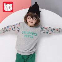 小猪班纳童圆领长袖针织小猪班纳童装男童长袖T恤2017春秋新款儿童男中大童上衣