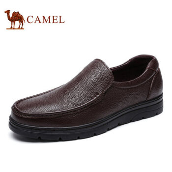camel骆驼男鞋 2016秋季新品 商务休闲牛皮鞋轻盈耐磨舒适套脚皮鞋