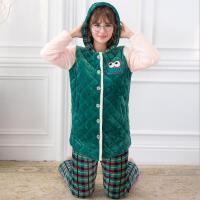 香芬妤 冬季睡衣加厚三层夹棉水晶绒女士长袖格子韩版可爱法兰绒加绒套装