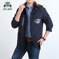战地吉普AFSJEEP秋冬新款8002中长款男士夹克外套 可脱卸帽茄克衫