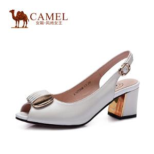 Camel骆驼鱼嘴凉鞋春夏季新款女鞋搭扣粗跟凉鞋 女中跟