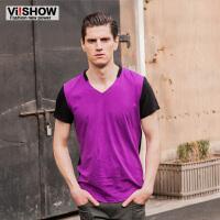 viishow夏装新款男士短袖T恤 撞色创意V领短T恤 时尚短袖 男