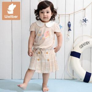 威尔贝鲁 彩棉梭织女童褶裥裙裤