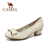 camel骆驼女鞋 春季新款单鞋牛皮圆头蝴蝶结女鞋