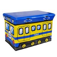 普润 公交车皮收纳凳 大号有盖多功能储物凳 儿童玩具收纳箱 蓝黄B38-28