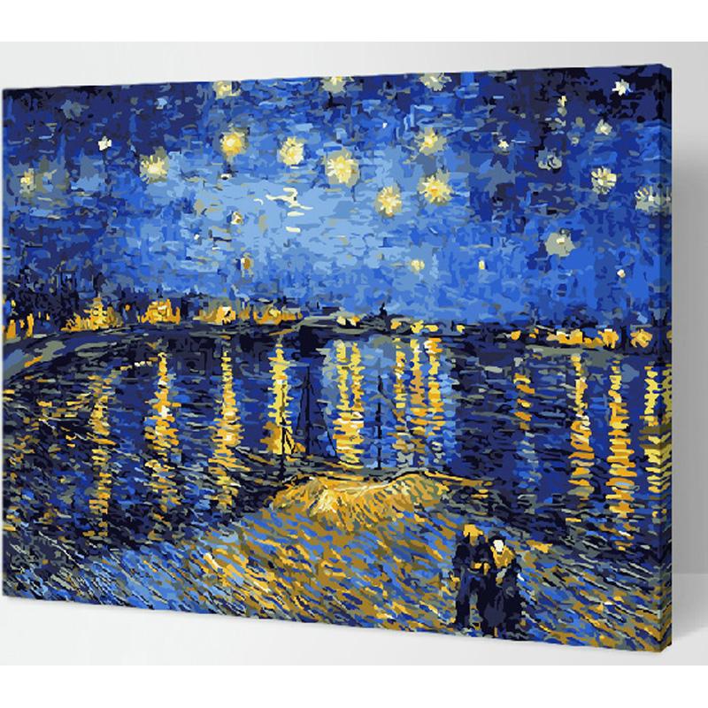 装饰画 手绘数字油画特价 星空下的罗纳河 梵高 客厅风景手绘情侣.