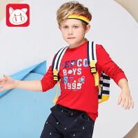 小猪班纳童装男童长袖t恤中大童圆领上衣2017秋装新款儿童卫衣男