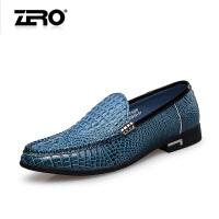 零度尚品新款商务休闲鞋头层牛皮鳄鱼纹潮流男鞋透气套脚男士皮鞋F5220