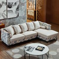 优梵艺术 欧式贵妃布艺沙发单双三人位 高档布艺沙发瑞森家具组合