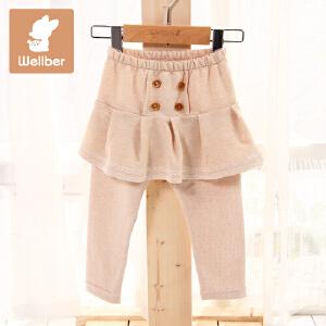 威尔贝鲁 彩棉鱼鳞布海军褶裙裤