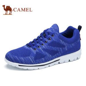 camel骆驼男鞋 新品 飞织跑步鞋运动休闲鞋 透气网面系带健步鞋
