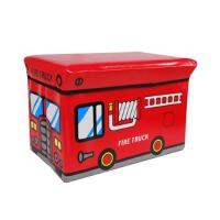 快乐鱼 巴士收纳凳 汽车收纳凳 玩具收纳箱 红色消防车-大号