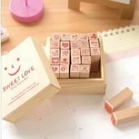可爱木质印章 表情章子 恋の微笑木盒印章