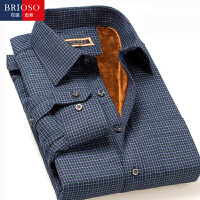 BRIOSO 秋冬装男士保暖衬衫 经典修身加绒加厚长袖男式衬衣 ND25095
