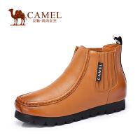 Camel/骆驼女鞋 冬新品 水染牛皮圆头中跟内增高休闲女靴