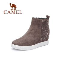 Camel/骆驼女鞋纯色简约侧拉链水钻内增高切尔西裸靴