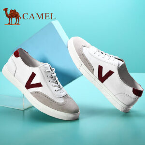 camel骆驼男鞋 夏季新款 日常简约撞色拼接牛皮鞋面休闲鞋男