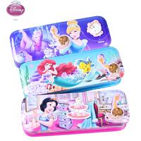 迪士尼儿童文具盒铅笔盒马口铁三层文具盒 公主图案女童