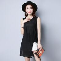 时尚不规则韩版薄款圆领针织衫短袖女新款纯色无袖百搭背心  可礼品卡支付