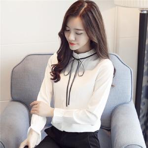 【满2件6折】白领公社 衬衫 女士秋季新款条纹衬衣韩版时尚百搭宽松上衣学生长袖打底衫