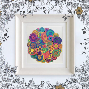 手工装裱创意画手绘自制装饰画涂鸦填色秘密花园画框