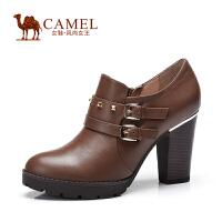 Camel骆驼短靴 秋季新款 日常休闲女鞋粗高跟牛皮短靴
