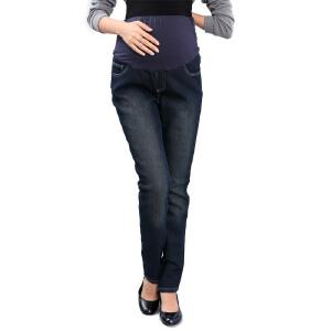 百伶妈妈 孕妇托腹裤加绒孕妇牛仔裤直筒裤 春冬款裤子11390N1
