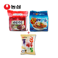 韩国进口食品 农心辛拉面 拌冷面四连包+粘拌面五连包+虾片68g袋