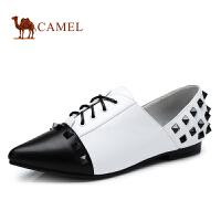 Camel骆驼女鞋 英伦风铆钉尖头低跟休闲女单鞋