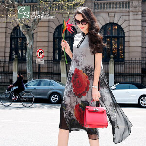 CITYSAILOR 女装真丝中长群 2017年夏装新款潮  女士优雅复古小立领桑蚕丝女士气质百搭修身连衣裙