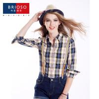 BRIOSO 2017春装新款女式纯棉长袖格子衬衫 基础百搭韩版时尚修身长袖衬衫 大码女装衬衣 WE2795