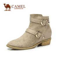 Camel骆驼女靴  新款欧美风 羊�S小圆头牛皮扣带中跟短靴