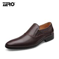 零度尚品 新款头层小牛皮商务正装皮鞋 英伦风潮流手工雕花套脚款男鞋婚鞋 F6523