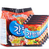 韩国进口方便面三养海鲜干拌面104g*5袋连包拉面方便面