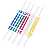 装订夹 得力5548塑料装订夹条 彩色装订压条 间距80mm 装订夹50只/盒